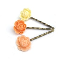 peach hair pins Flower Hair pins resin Hair pins by JPwithLove