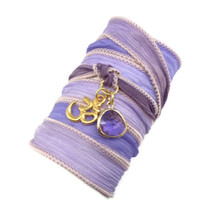Silk Wrap Bracelet with Gold Om Charm by charmeddesign1012
