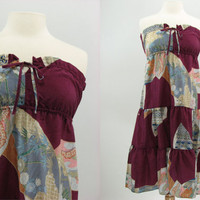 70s Strapless Floral Sun Dress S by snootieseconds on Etsy