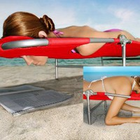 Vega Plus Beach Chaise / Lounger - Red