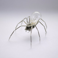 Mechanical Spider Sculpture No 21 Recycled Watch Parts Clockwork Arachnid Figurine Stems Lightbulb Arthropod A Mechanical Mind Gershenson