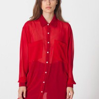American Apparel - Chiffon Oversized Button-Up