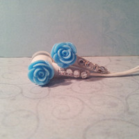 New Frosted Baby Blue Rose Earbuds With Swarovski Crystals