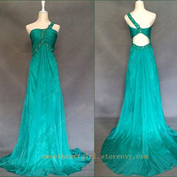 Glamorous Green Chiffon One Shoulder Prom Dress