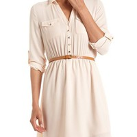 Belted Chiffon Shirt Dress: Charlotte Russe