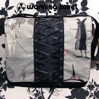 Custom Gothic Corset Messenger Bag  ENCHANTRESS  by beanbun