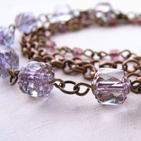 Lavender multi strand bracelet vintage pastel by shadowjewels