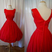 On Hold Gorgeous 1950's XL bright red silk chiffon by wearitagain