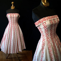 Killer 1950's David Hart strapless red and white by wearitagain