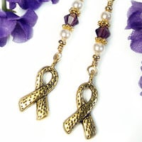 Purple Awareness Earrings Swarovski Crystals Pearls Gold Tone Ribbons