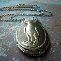 Falcon Wax Seal Necklace. Wax Seal Fine Silver Jewelry. Large Pendant