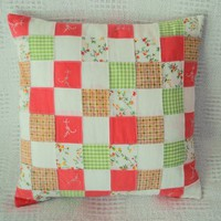 Handmade Peach & Spring Green Cotton Patchwork Pillow Cover from Smiling Cat Designs