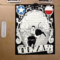 Texas art print 11x14 cowboy bull riding God bless by JeffMacArt