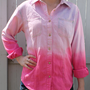 Fuchsia Pink Dip Dyed Ombre Denim Shirt