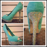 Tiffany Blue Bling Pumps by DaedreamDesigns on Etsy
