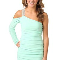 long sleeve cold shoulder club dress with rhinestone strap - debshops.com