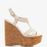 Faux Leather Cork Wedge Sandals | FOREVER 21 - 2039768464
