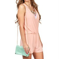Peach Deep V Neck Romper