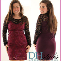 Yoo-4680X-Black-Purple Sexy Lace Sequined Long Sleeve Plus Size Dress