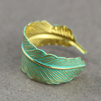 Feather Ring : Bohemian Gold Feather Wrap Ring, Feather Charm, Adjustable, Leaf, Simple, Casual, Yoga, Patina Teal Finish Coating
