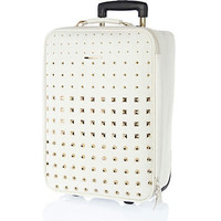 White multi studded wheelie suitcase