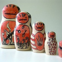 Zombie Devil Nesting Art Dolls by PsAndQs on Etsy