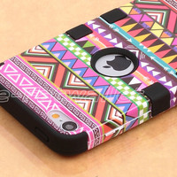 Stylus + For iPod Touch 5 5G Hybrid High Impact Case Tribal Pink /Black Silicone