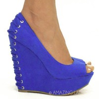 Corset Back Wedge Heel Platform Shoes Royal Blue Cobalt Lace Up Open Toe Fashion