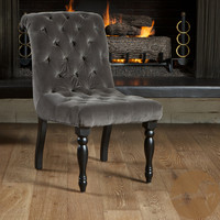 Christopher Knight Home Euro Tufted Charcoal Velvet Chair | Overstock.com