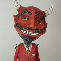Oberon Contemporary Folk Art Devil Doll ooak by cartbeforethehorse