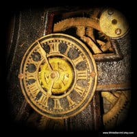 Steampunk Clock  12x12 Fine Art Photography  by WhiteBarnArt