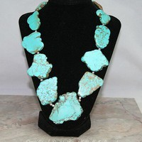 Necklace, handmade turquoise magnesite slabs