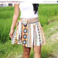 ON SALE Tribal Skirt, Aztec Skirt, Tribal Mini Skirt with sash