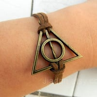 Simple bracelet - Brown bracelet, Harry Potter and the Deathly Hallows bracelet - 027