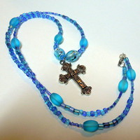 Spiritual Cross Necklace, Blue Lampwork, Seed and Cloudy Beads