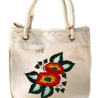 Red and Yellow Flowered Painted Tote Bag