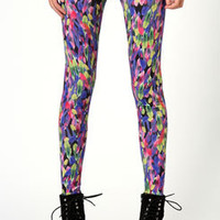 Nina Multicolour Feather Print Leggings