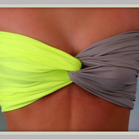 Matte Chartreuse Grey Bandeau Top   Spandex Bandeau by Sidewalk616