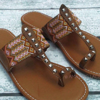 Reedsport Aztec Tribal Brown Flat Sandals