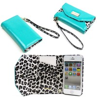 JAVOedge Leopard Wallet Case for the Apple iPhone 5 (Turquoise)