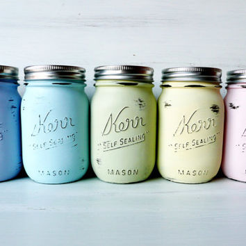 Easter Decorations / SPRING and SUMMER Wedding and Home Decor  -  Painted and Distressed Mason Jars - Vase - Baby Pastels