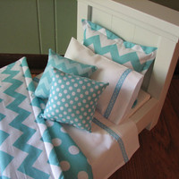 "Chevron Bedding Set for American Girl Doll or similar 18"" dolls - Aqua Blue"