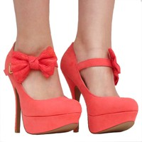 Women&#x27;s Qupid Coral Mary Jane Bow High Heel Stiletto Pump