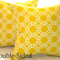 Designer Pillow cover Yellow geometric accent pillow cover 20 x 20 Double Sided