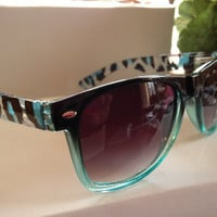 Retro Wayfarer Sunglasses Blue Turquoise Zebra Sides 80s Hip
