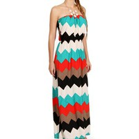 Multi Color Strapless Maxi Dress