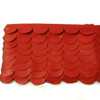 Leather Scallop Clutch in Red Leather by Reneeloveandco on Etsy