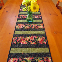 Quilted Table Runner Paisley Stripe