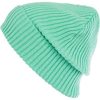 Aqua ribbed knit beanie hat