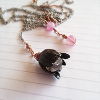 Whimsical Herkimer Diamond Quartz and Black Brass by ColorPopInk